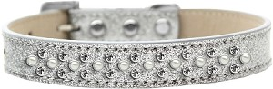 Sprinkles Ice Cream Dog Collar Pearl and Clear Crystals Size 14 Silver