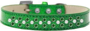 Sprinkles Ice Cream Dog Collar Pearl and Emerald Green Crystals Size 20 Emerald Green