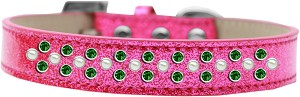 Sprinkles Ice Cream Dog Collar Pearl and Emerald Green Crystals Size 20 Pink