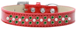 Sprinkles Ice Cream Dog Collar Pearl and Emerald Green Crystals Size 14 Red