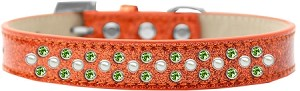 Sprinkles Ice Cream Dog Collar Pearl and Lime Green Crystals Size 18 Orange