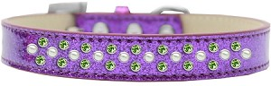 Sprinkles Ice Cream Dog Collar Pearl and Lime Green Crystals Size 18 Purple