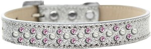 Sprinkles Ice Cream Dog Collar Pearl and Light Pink Crystals Size 16 Silver