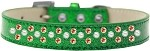 Sprinkles Ice Cream Dog Collar Pearl and Orange Crystals Size 12 Emerald Green
