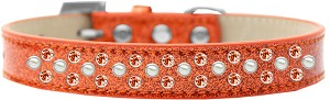 Sprinkles Ice Cream Dog Collar Pearl and Orange Crystals Size 16 Orange