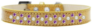Sprinkles Ice Cream Dog Collar Pearl and Purple Crystals Size 16 Gold