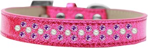 Sprinkles Ice Cream Dog Collar Pearl and Purple Crystals Size 14 Pink