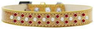 Sprinkles Ice Cream Dog Collar Pearl and Red Crystals Size 14 Gold