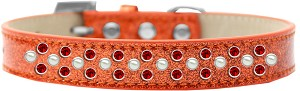 Sprinkles Ice Cream Dog Collar Pearl and Red Crystals Size 16 Orange