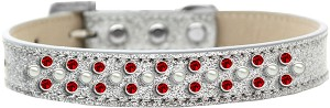 Sprinkles Ice Cream Dog Collar Pearl and Red Crystals Size 20 Silver
