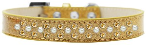 Sprinkles Ice Cream Dog Collar Pearl and Yellow Crystals Size 18 Gold