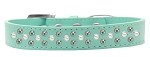 Sprinkles Dog Collar Pearl and AB Crystals Size 12 Aqua