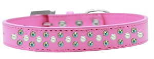 Sprinkles Dog Collar Pearl and AB Crystals Size 14 Bright Pink