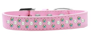 Sprinkles Dog Collar Pearl and AB Crystals Size 16 Light Pink