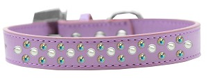 Sprinkles Dog Collar Pearl and AB Crystals Size 14 Lavender