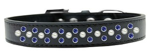 Sprinkles Dog Collar Pearl and Blue Crystals Size 14 Black