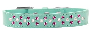 Sprinkles Dog Collar Pearl and Bright Pink Crystals Size 16 Aqua