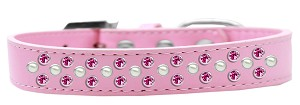 Sprinkles Dog Collar Pearl and Bright Pink Crystals Size 16 Light Pink