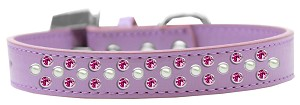 Sprinkles Dog Collar Pearl and Bright Pink Crystals Size 14 Lavender