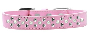 Sprinkles Dog Collar Pearl and Clear Crystals Size 18 Light Pink