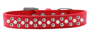 Sprinkles Dog Collar Pearl and Clear Crystals Size 18 Red