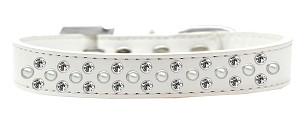 Sprinkles Dog Collar Pearl and Clear Crystals Size 20 White