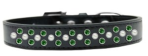 Sprinkles Dog Collar Pearl and Emerald Green Crystals Size 20 Black
