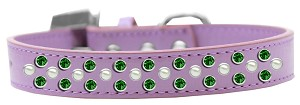 Sprinkles Dog Collar Pearl and Emerald Green Crystals Size 12 Lavender