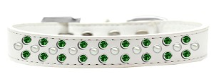 Sprinkles Dog Collar Pearl and Emerald Green Crystals Size 20 White