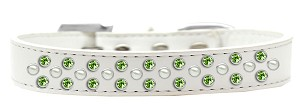 Sprinkles Dog Collar Pearl and Lime Green Crystals Size 16 White