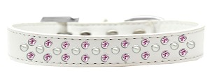 Sprinkles Dog Collar Pearl and Light Pink Crystals Size 20 White