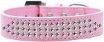 Three Row Clear Crystal Dog Collar Light Pink Size 12