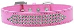 Three Row AB Crystal Dog Collar Bright Pink Size 12