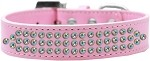 Three Row AB Crystal Dog Collar Light Pink Size 12