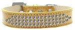 Three Row Clear Crystal Ice Cream Dog Collar Gold Size 18