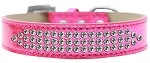 Three Row Clear Crystal Ice Cream Dog Collar Pink Size 14