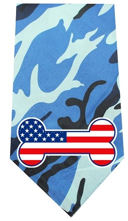 America Bone Flag Screen Print Bandana Blue Camo