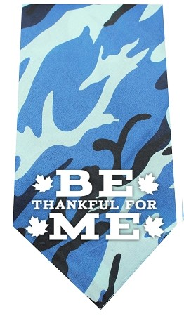 Be Thankful for Me Screen Print Bandana Blue Camo