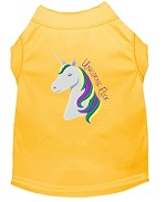 Unicorns Rock Embroidered Dog Shirt Yellow Med (12)