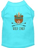 Wild Child Embroidered Dog Shirt Aqua Sm (10)