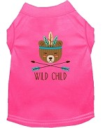Wild Child Embroidered Dog Shirt Bright Pink Sm (10)