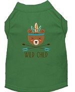 Wild Child Embroidered Dog Shirt Green Sm (10)