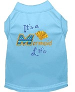 Mermaid Life Embroidered Dog Shirt Baby Blue Sm