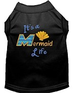 Mermaid Life Embroidered Dog Shirt Black Med