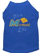 Mermaid Life Embroidered Dog Shirt Blue Sm
