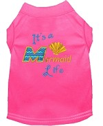 Mermaid Life Embroidered Dog Shirt Bright Pink Sm