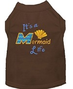 Mermaid Life Embroidered Dog Shirt Brown Sm