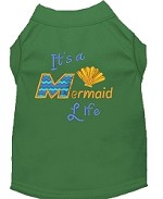 Mermaid Life Embroidered Dog Shirt Green Sm