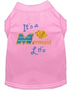Mermaid Life Embroidered Dog Shirt Light Pink Sm