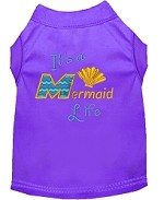 Mermaid Life Embroidered Dog Shirt Purple Sm